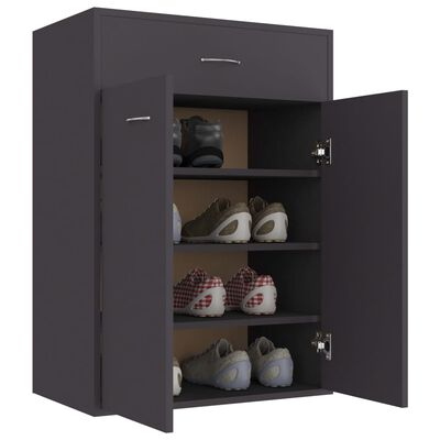 "vidaXL Shoe Cabinet Gray 23.6""x13.7""x33"" Chipboard"
