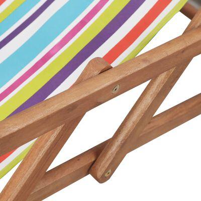 vidaXL Folding Beach Chair Fabric and Wooden Frame Multicolor