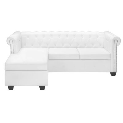 vidaXL L-shaped Chesterfield Sofa Artificial Leather White