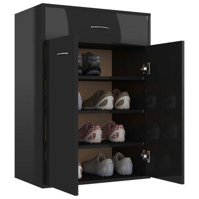 "vidaXL Shoe Cabinet High Gloss Black 23.6""x13.8""x33.1"" Chipboard"