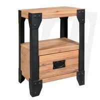 """vidaXL Nightstand Solid Acacia Wood Steel 15.7""""x11.8""""x21.3"""""""