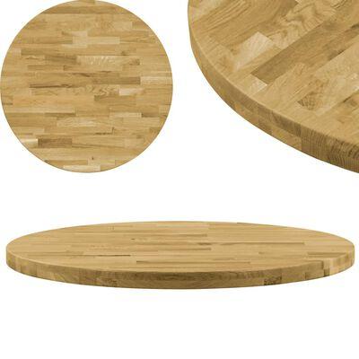 """vidaXL Table Top Solid Oak Wood Round 1.7"""" 23.6"""""""