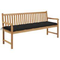 "vidaXL Garden Bench with Black Cushion 68.9"" Solid Teak Wood"