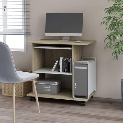 """vidaXL Computer Desk White and Sonoma Oak 31.5""""x19.7""""x29.5"""" Chipboard"""