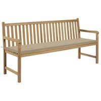 "vidaXL Garden Bench with Beige Cushion 68.9"" Solid Teak Wood"