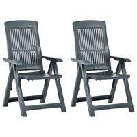 vidaXL Garden Reclining Chairs 2 pcs Plastic Green
