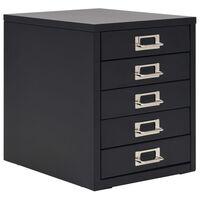 "vidaXL Filing Cabinet with 5 Drawers Metal 11""x13.8""x13.8"" Black"