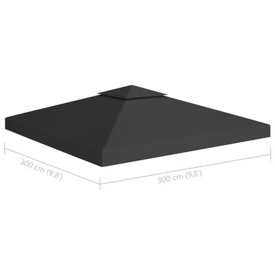 vidaXL 2-Tier Gazebo Top Cover 310 g/m² 9.8'x9.8' Black