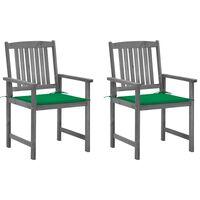 vidaXL Director's Chairs with Cushions 2 pcs Gray Solid Acacia Wood