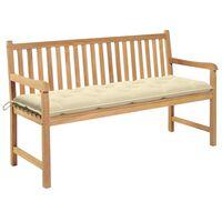 """vidaXL Garden Bench with Cream White Cushion 59.1"""" Solid Teak Wood"""