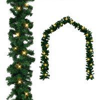 vidaXL Christmas Garland with LED Lights Green 32.8' PVC