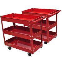 2 x Workshop Tool Trolley 220 lbs 3 Shelves