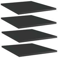 "vidaXL Bookshelf Boards 4 pcs High Gloss Black 15.7""x19.7""x0.6"" Chipboard"