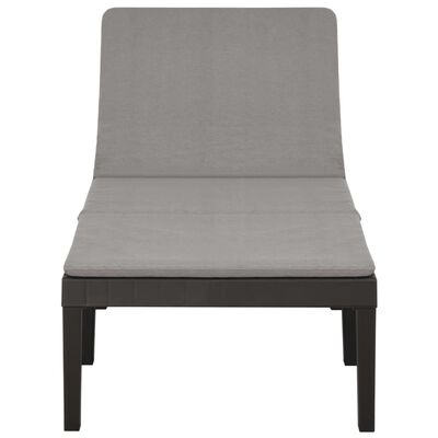vidaXL Sun Lounger with Cushion Plastic Anthracite