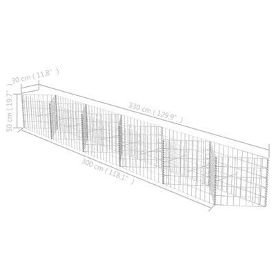 """vidaXL Gabion Basket Galvanised Steel 118.1""""x11.8""""x19.7"""""""