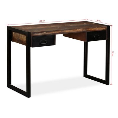 """vidaXL Desk with 2 Drawers Solid Reclaimed Wood 47.2""""x19.7""""x29.9"""""""