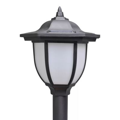 vidaXL Chain Fence with Solar Lights Two LED Lamps Two Poles