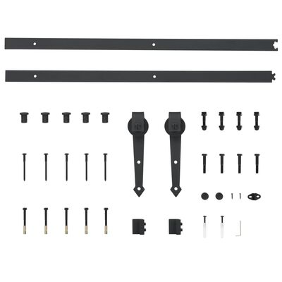 "vidaXL Sliding Door Hardware Kit 72"" Steel Black"