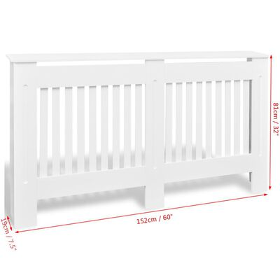 """White MDF Radiator Cover Heating Cabinet 60"""""""