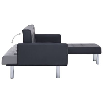 vidaXL L-shaped Sofa Bed Black Faux Leather