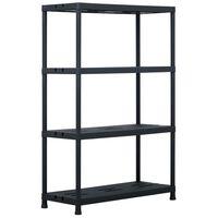 "vidaXL Storage Shelf Rack Black 485 lb 35.4""x15.7""x54.3"" Plastic"