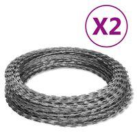 vidaXL NATO Razor Wires Helical Wire Rolls 2 pcs Galvanized Steel 196.9'