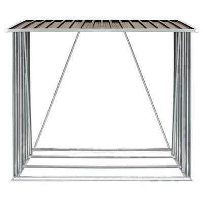 """vidaXL Garden Log Storage Shed Galvanized Steel 64.2""""x32.7""""x60.6"""" Brown"""