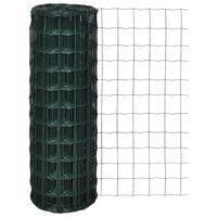vidaXL Euro Fence Steel 82ft x 2.6ft Green