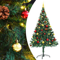 """vidaXL Artificial Christmas Tree with Baubles and LEDs Green 59.1"""""""