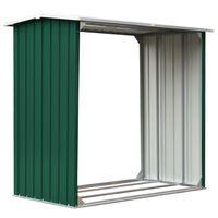 "vidaXL Log Storage Shed Galvanized Steel 67.7""x35.8""x60.6"" Green"