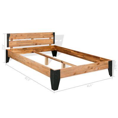 """vidaXL Bed Frame Solid Acacia Wood Steel 59.8""""x79.9"""""""