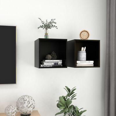 """vidaXL Wall Cabinets 2 pcs Black 14.6""""x14.6""""x14.6"""" Chipboard"""