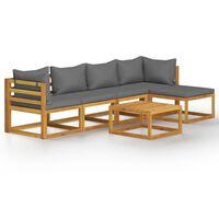 vidaXL 6 Piece Garden Lounge Set with Cushion Solid Acacia Wood