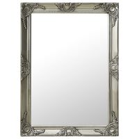 "vidaXL Wall Mirror Baroque Style 23.6""x21.5"" Silver"