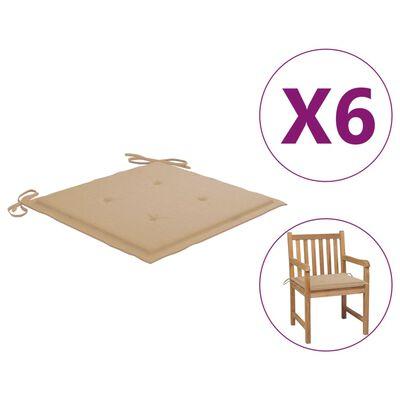 "vidaXL Garden Chair Cushions 6 pcs Beige 19.7""x19.7""x1.6"" Fabric"