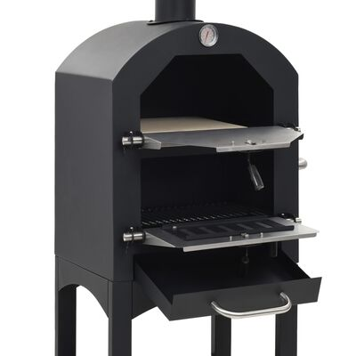 vidaXL Charcoal Fired Outdoor Pizza Oven with Fireclay Stone