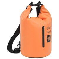 vidaXL Dry Bag with Zipper Orange 4 gal PVC