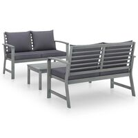 vidaXL 3 Piece Garden Lounge Set with Cushion Solid Acacia Wood Gray