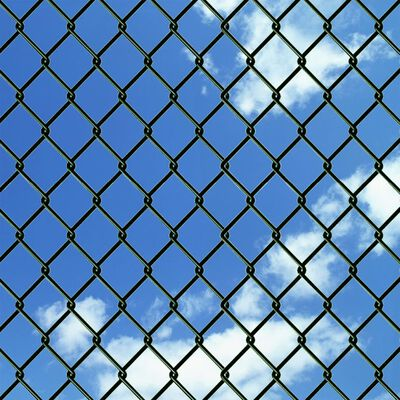 vidaXL Chain Link Fence with Posts Spike Steel 4.9ftx49.2ft