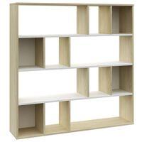 "vidaXL Room Divider/Book Cabinet White and Sonoma Oak 43.3""x9.4""x43.3"" Chipboard"