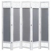 vidaXL 5-Panel Room Divider Gray 5.7'x5.4' Fabric