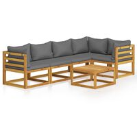 vidaXL 6 Piece Garden Lounge Set with Cushions Solid Acacia Wood