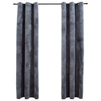 "vidaXL Blackout Curtains with Rings 2 pcs Anthracite 37""x63"" Velvet"