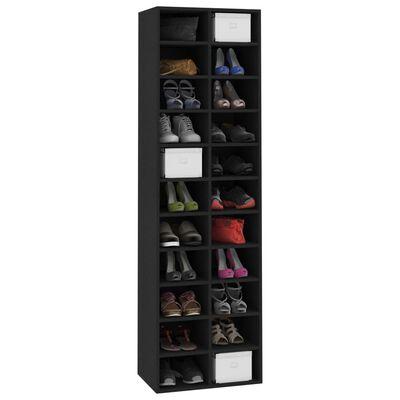 "vidaXL Shoe Cabinet Black 21.2""x13.3""x72"" Chipboard"