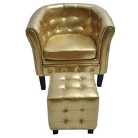 vidaXL Tub Chair with Footstool Gold Faux Leather