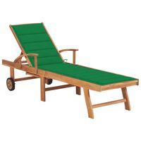 vidaXL Sun Lounger with Green Cushion Solid Teak Wood