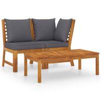 vidaXL 3 Piece Garden Lounge Set with Dark Gray Cushion Solid Acacia Wood