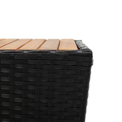 "vidaXL Tea Table Black 16.3""x16.3""x16.9"" Poly Rattan and Solid Acacia Wood"