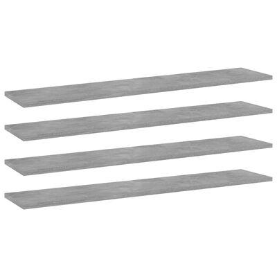 "vidaXL Bookshelf Boards 4 pcs Concrete Gray 39.4""x7.9""x0.6"" Chipboard"