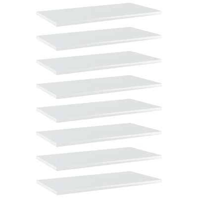 "vidaXL Bookshelf Boards 8 pcs High Gloss White 23.6""x11.8""x0.6"" Chipboard"